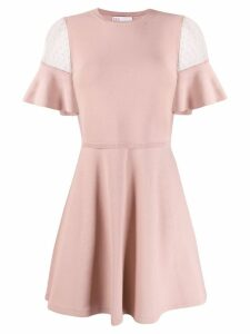 Red Valentino ruffled sleeves knitted dress - Pink