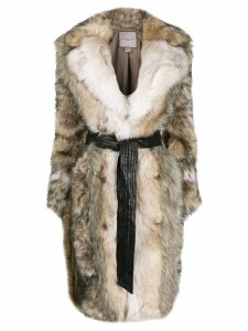 Urbancode faux fur midi coat - Neutrals