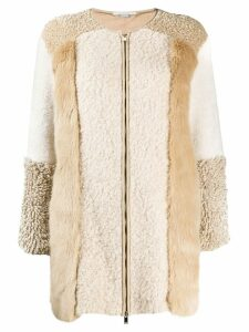 Stella McCartney Fur Free Fur zip-up patched jacket - Neutrals