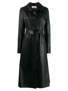 Loewe leather belted long coat - Black