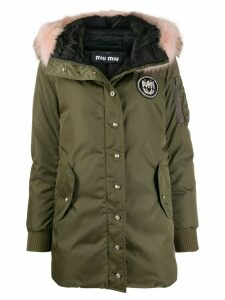 Miu Miu fur-trimmed hooded parka - Green
