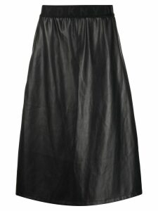 DKNY leather look midi skirt - Black