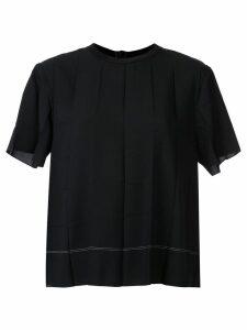 Kuho pleated design T-shirt - Black