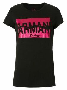 Armani Exchange CAMISETA SLIM FIT COM ESTAMPA CONTRASTANTE - Black