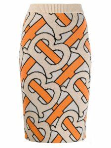 Burberry monogram knitted pencil skirt - Neutrals
