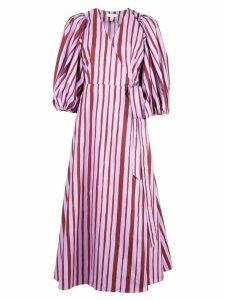 Beaufille striped wrap-style dress - Purple