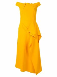 Roland Mouret off-shoulder midi dress - Yellow