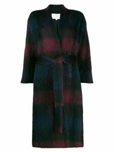 Vince brushed plaid coat - Blue