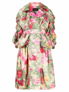 Simone Rocha ruched sleeve floral coat - Green