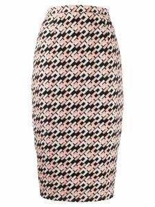 Elisabetta Franchi logo print pencil skirt - Pink