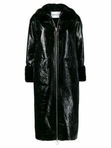Stand faux fur trimmed coat - Black