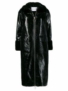 STAND STUDIO faux fur trimmed coat - Black