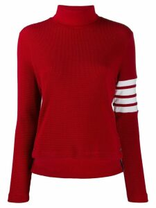 Thom Browne 4-Bar Compact Waffle Turtleneck - Red