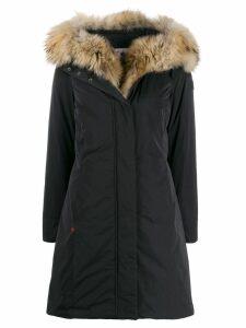 Woolrich raccoon fur hooded coat - Black