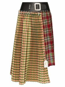 Chopova Lowena tartan pleated asymmetric midi skirt - Multicolour
