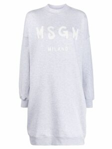 MSGM logo print sweater dress - Grey
