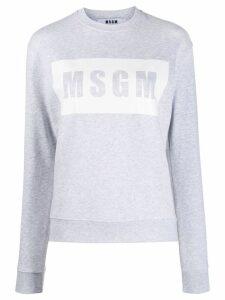 MSGM Box logo print sweater - Grey