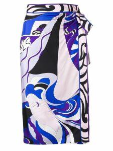 Emilio Pucci Hanami Print Silk Wrap Skirt - Blue