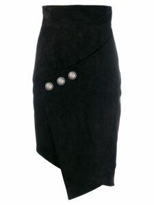 Balmain asymmetric midi skirt - Black