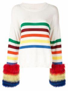 Izaak Azanei fur cuffed jumper - White