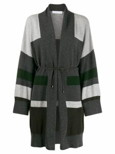 Fabiana Filippi striped knit cardi-coat - Grey