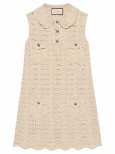 Gucci crochet knitted mini dress - White