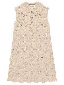 Gucci crochet knitted mini dress - White