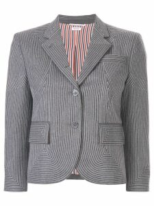 Thom Browne Embroidered Flannel Sport Coat - Grey