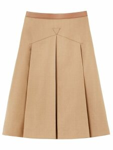 Burberry leather trimmed pleated skirt - Neutrals