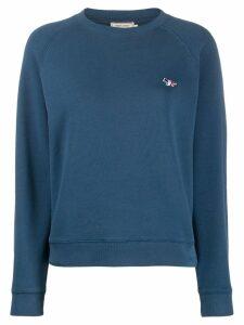 Maison Kitsuné tricolor fox-appliqué sweatshirt - Blue