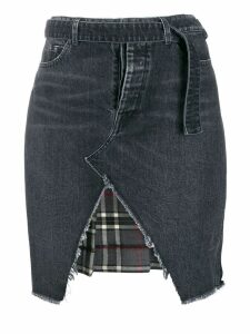 Unravel Project denim and plaid asymmetric skirt - Black