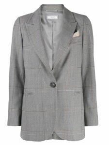 Peserico check print blazer - Grey
