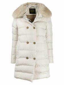 Moorer detachable fur trimmed jacket - Neutrals