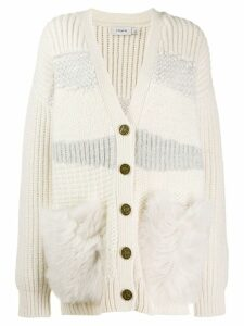 Coach ribbed V-neck cardigan - White