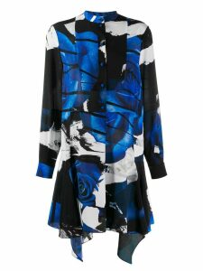 Alexander McQueen floral asymmetric shirt dress - Blue
