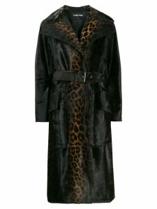 Tom Ford leopard print belted coat - Brown
