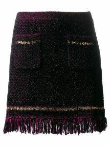 Versace metallic threading fringed woven skirt - Black