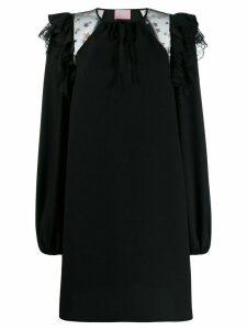 Giamba ruffle trim shift dress - Black