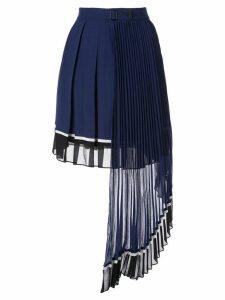 Self-Portrait pleated panel skirt - Blue