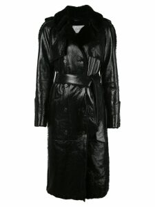 Common Leisure patent belted double-breasted trench - Black