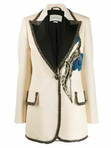Gucci embroidered single button blazer - Neutrals