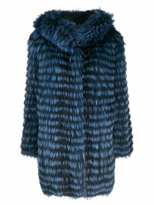 Simonetta Ravizza two-tone striped coat - Blue