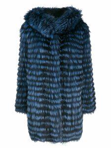 Simonetta Ravizza two-tone striped coat - Blue