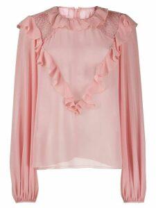 Giamba ruffle trim blouse - Pink
