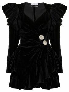 Attico ruffled velvet wrap-front mini dress - Black