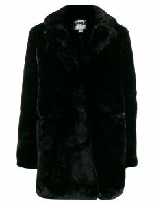 Apparis textured furry coat - Black