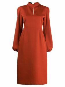 Rochas bishop sleeve midi dress - Orange