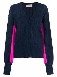 Maison Flaneur two-tone ribbed cardigan - Blue