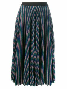 Giamba metallic pleated midi skirt - Green