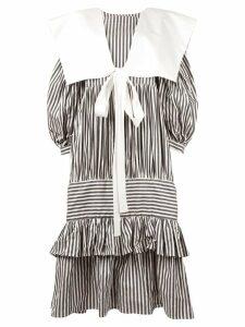 Vaquera ruffled striped dress - Black